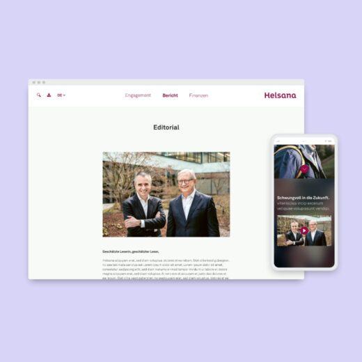 Digitales Design für Helsana Geschäftsbericht