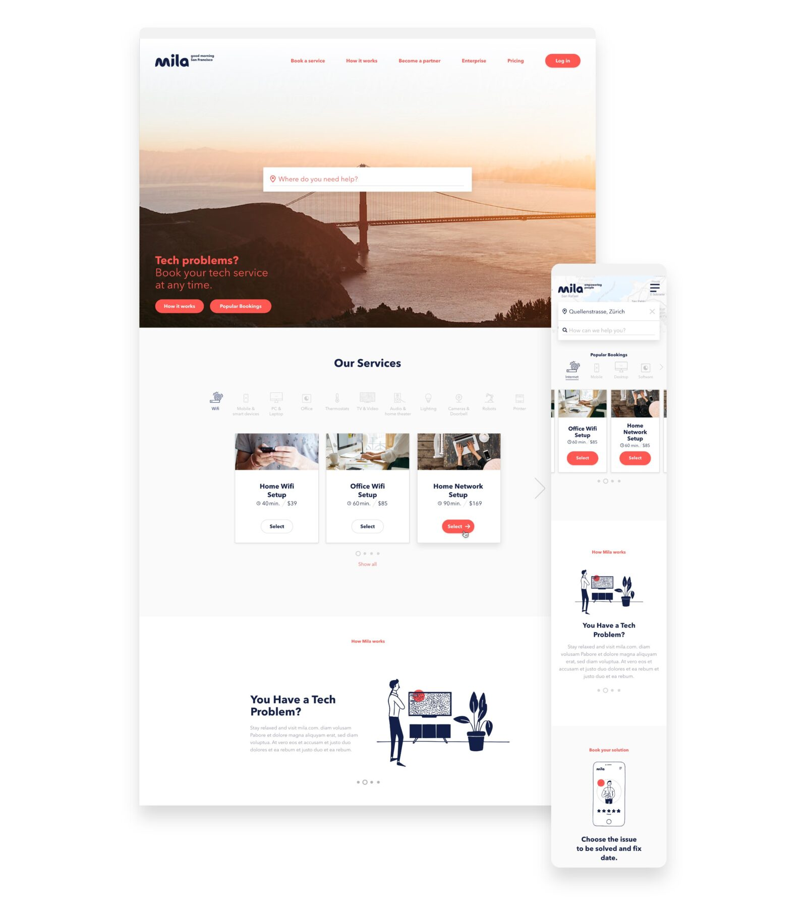 mila Responsive Screen Design