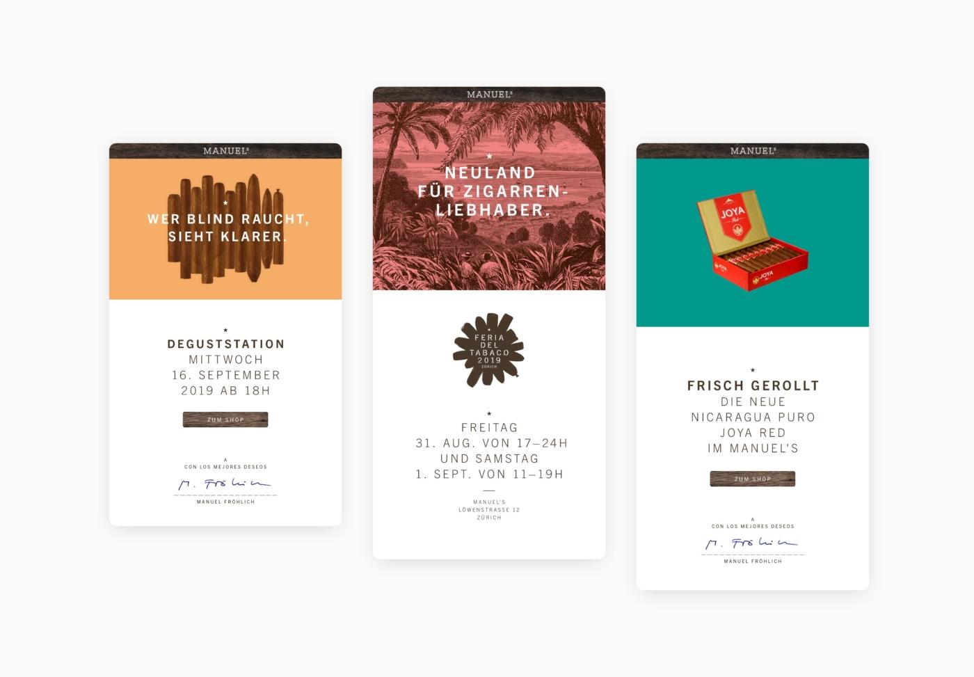 Newsletter Design für Manuels Zürich