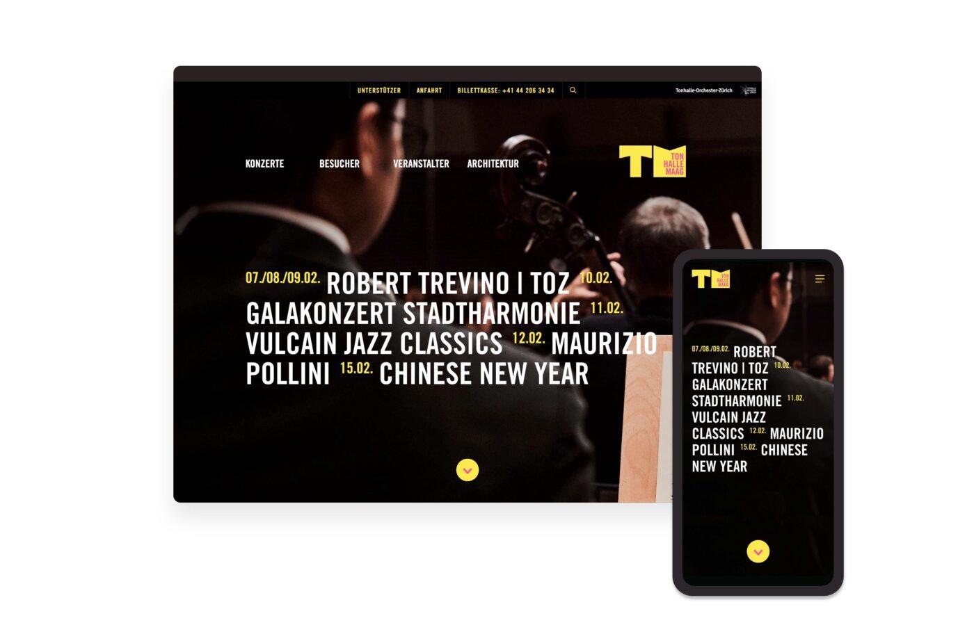 Responsive Web Design für Tonhalle Maag Rebranding